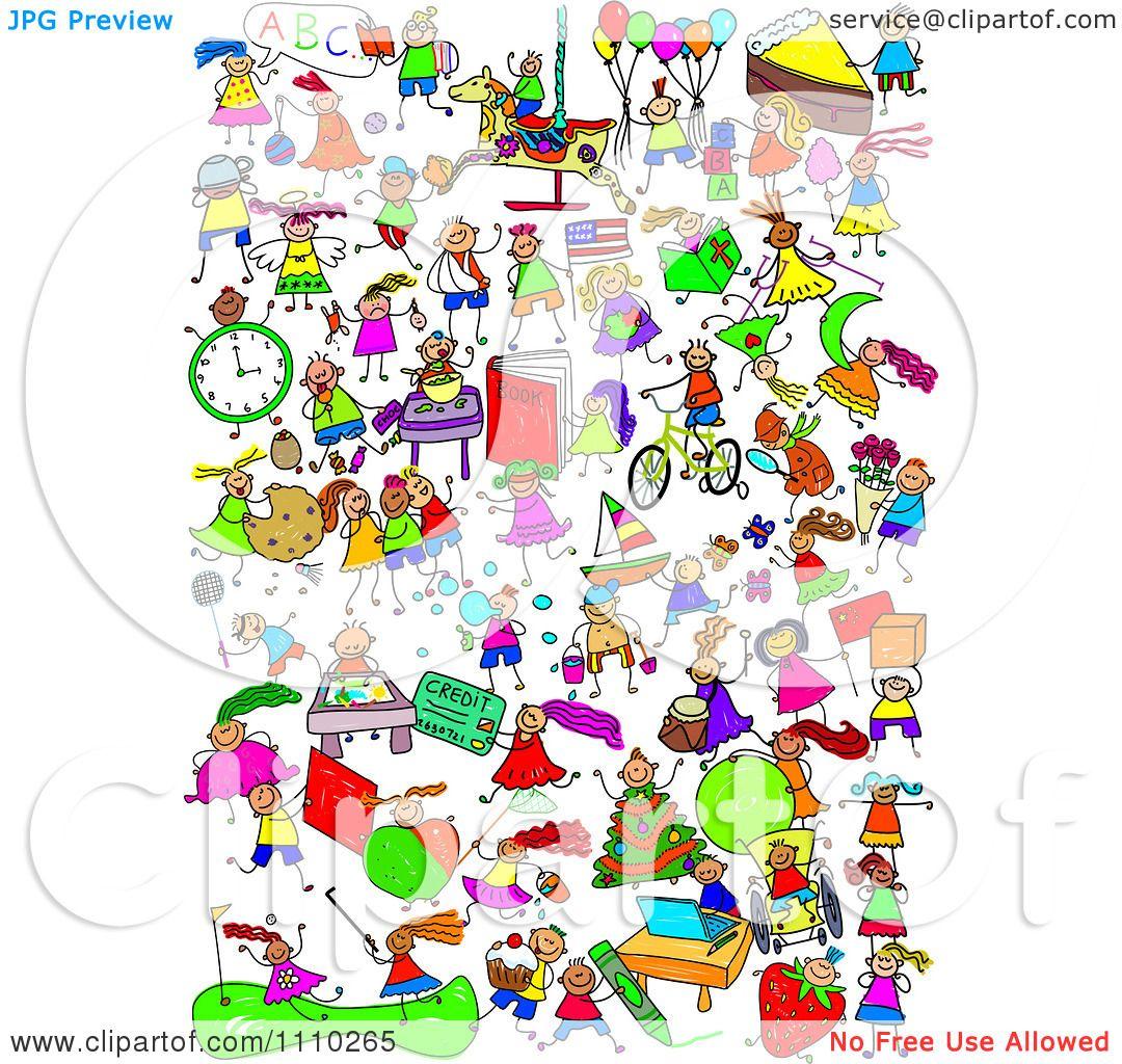 Clipart Montage Of Active Stick Children.