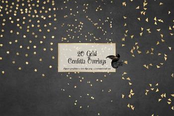 Gold Confetti Overlays Clipart.