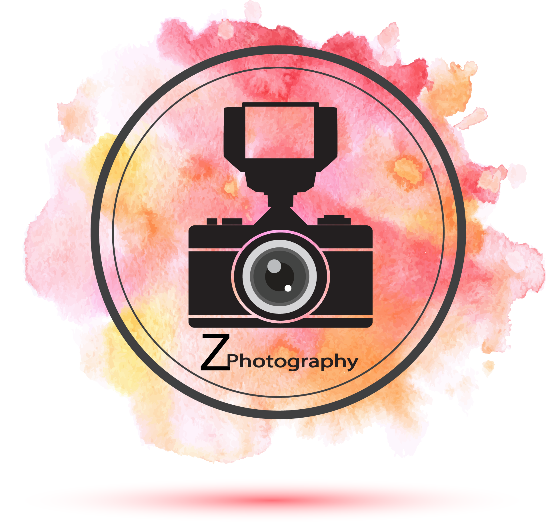 Photographer logo , photo studio logo , camera , water color.