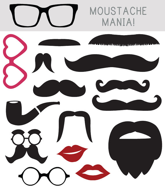 Moustache Clip Art Photo Booth Props by AngieMakes on Etsy, $3.00.