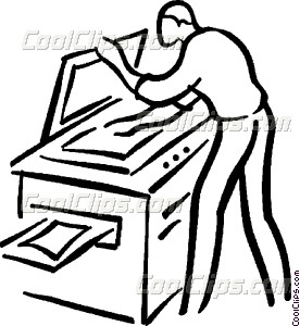 man making a photocopy Vector Clip art.