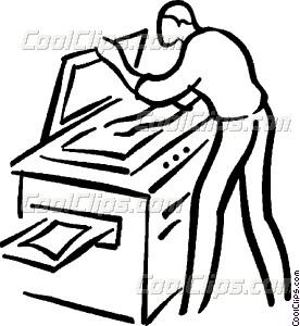 man making a photocopy Vector Clip art.