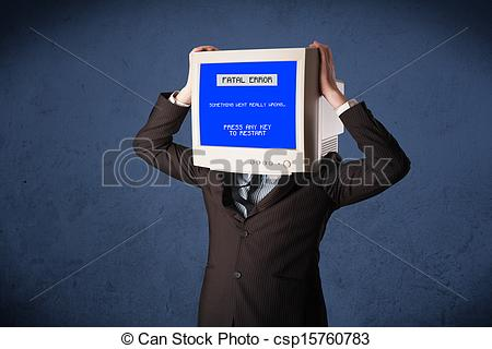 Pictures of Person with a monitor head and fatal error blue screen.