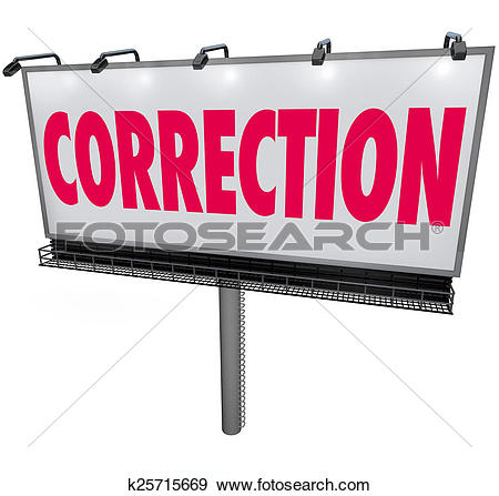 Stock Photograph of Correction Word Billboard Revising Updating.