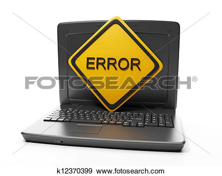 Stock Photograph of Computer technology. Laptop with a sign error.