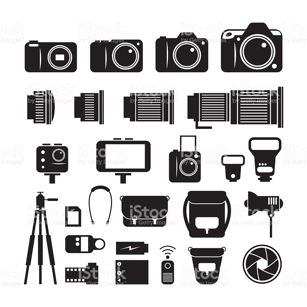 Camera Photography Mono Icons Set stock vector art 509367742.