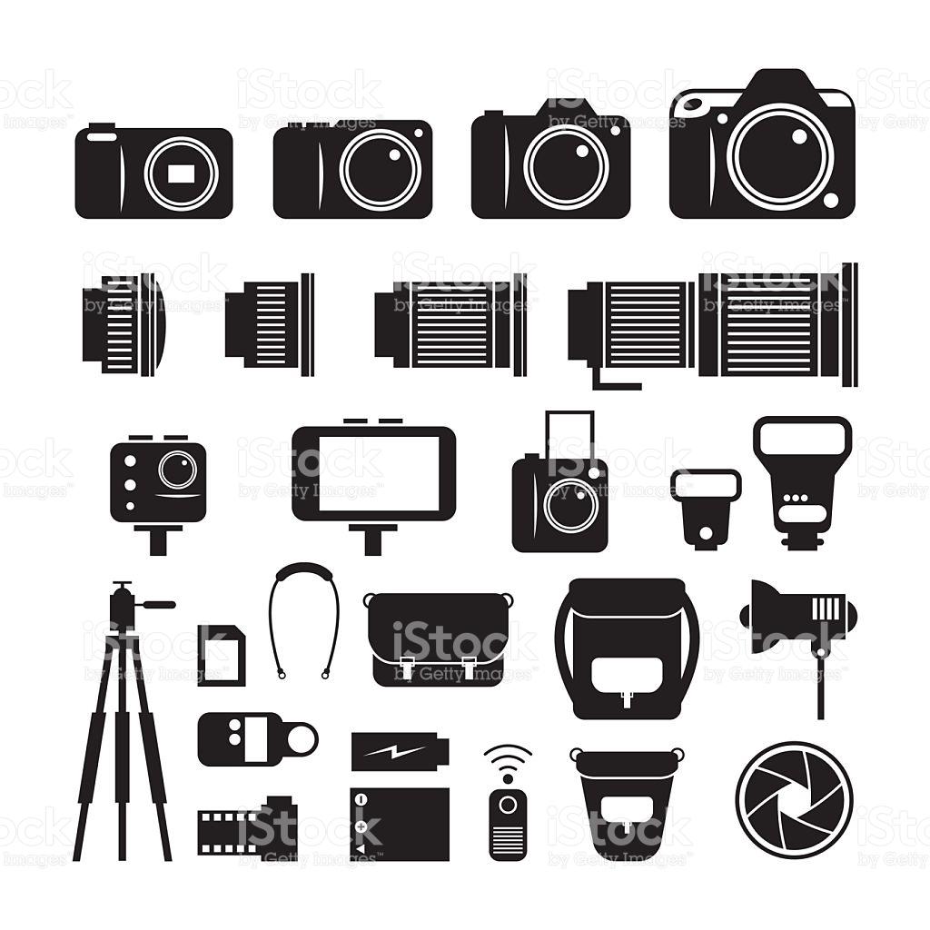 Camera Photography Mono Icons Set stock vector art 509367742.