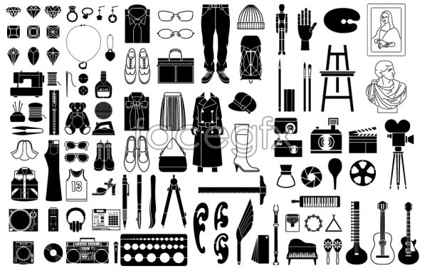 Photographic equipment supplies elements EPS format vector.