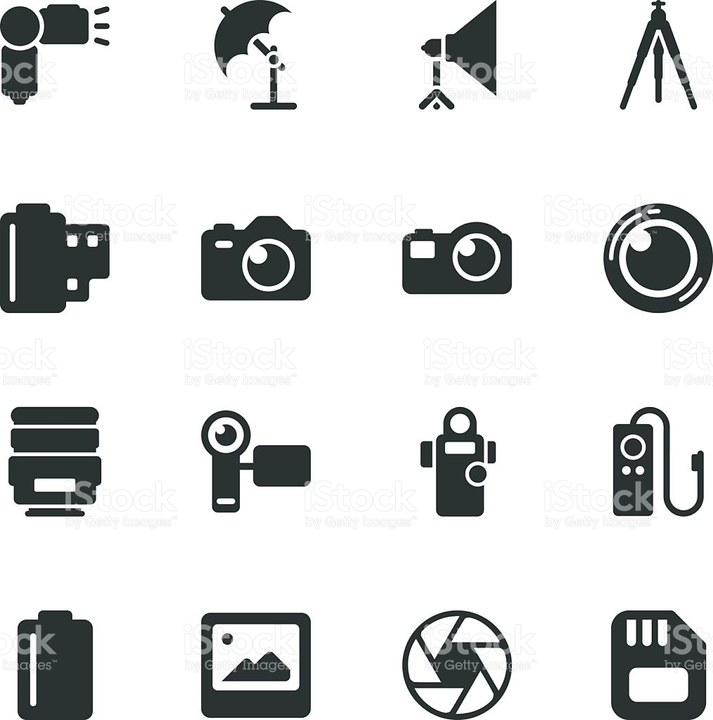 Photography Silhouette Icons stock vector art 153143320.