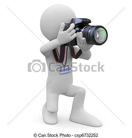 Clip Art of Photographer with his SLR camera.