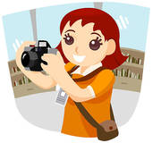 Stock Illustration of Girl taking photograph with camera u11299285.