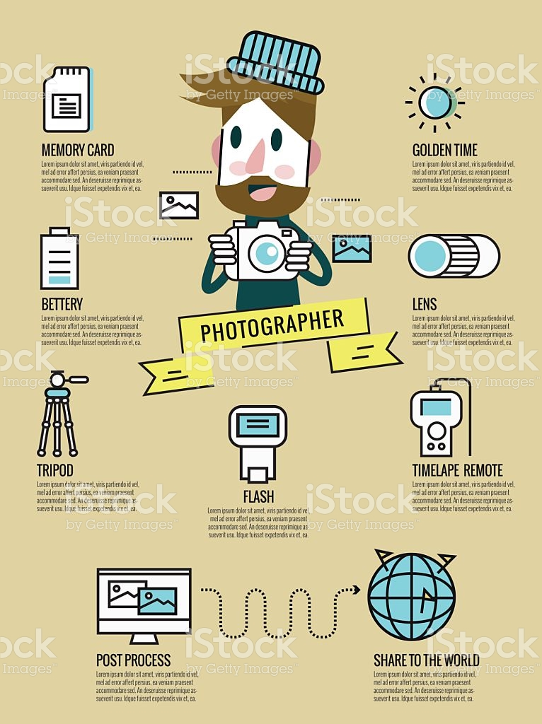 Photography Infographic Photographer With Photography Equipment.