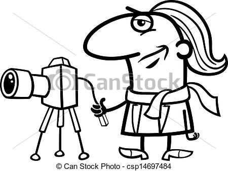Vector of photographer cartoon coloring page.