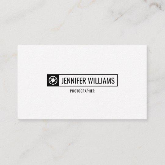 Camera Shutter Logo Minimalist Photographer Business Card.