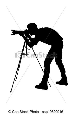 Stock Photography of Photographer shooting. Side view silhouette.