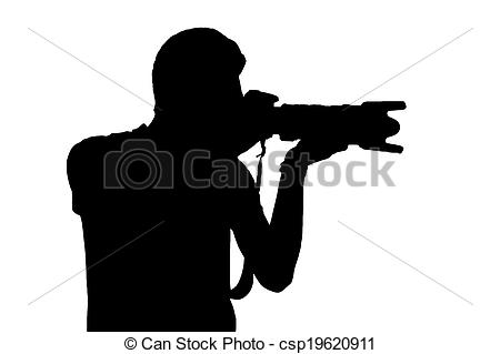 Stock Photography of Man with camera. Silhouette of man holding.