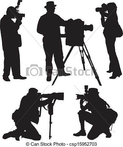 Vector Clipart of Photographer Silhouette on white background.