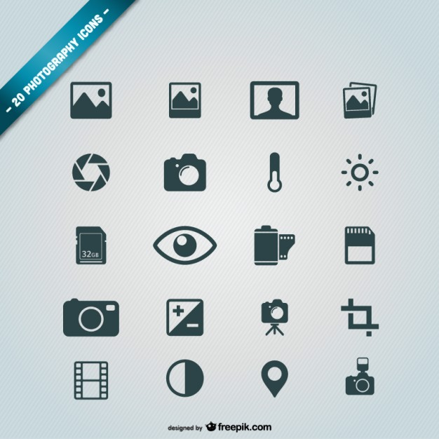 Photography icons free Vector.