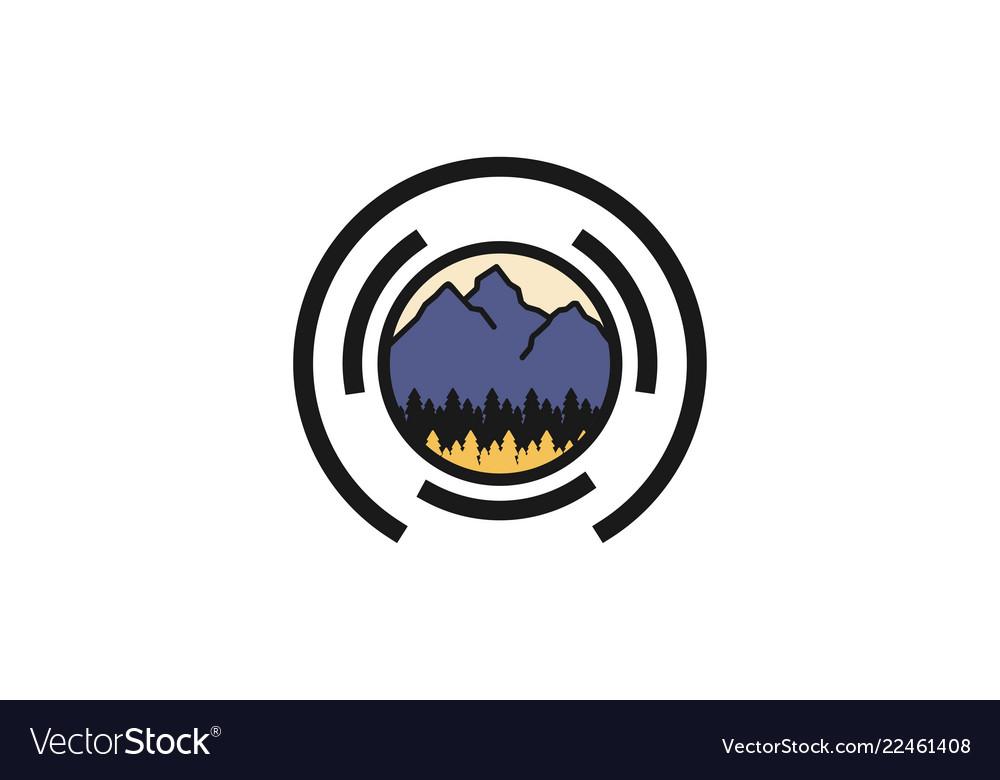 Mountain fir lens camera outdoor photography logo.