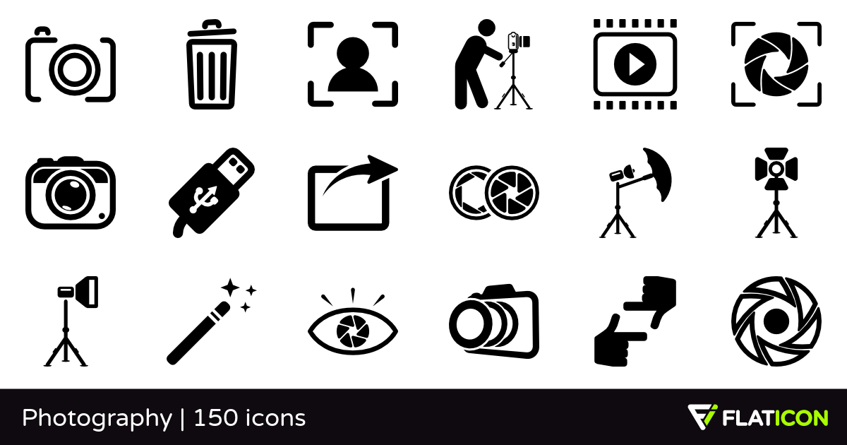 Photography 150 free icons (SVG, EPS, PSD, PNG files).