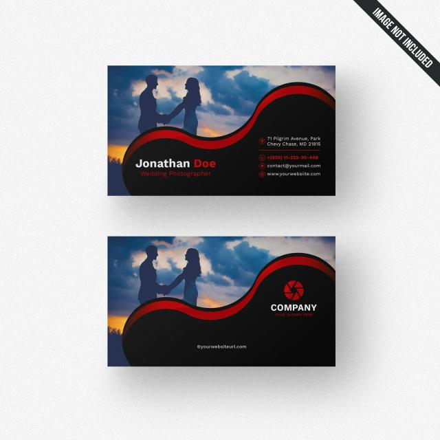 Black Photography Business Card With Red Details Template.