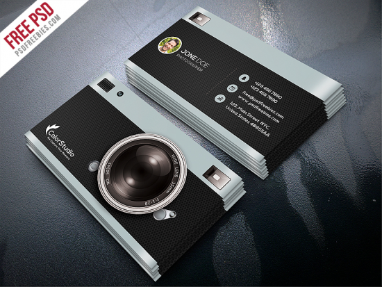Photography Business Card Template Free PSD.