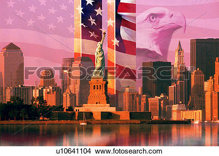 Stock Photo of Photo montage: American flag and eagle, World Trade.