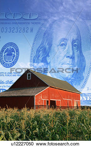 Stock Photography of Photo montage: American currency, red barn.