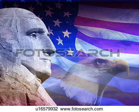 Stock Photo of Photo montage: American eagle, George Washington.