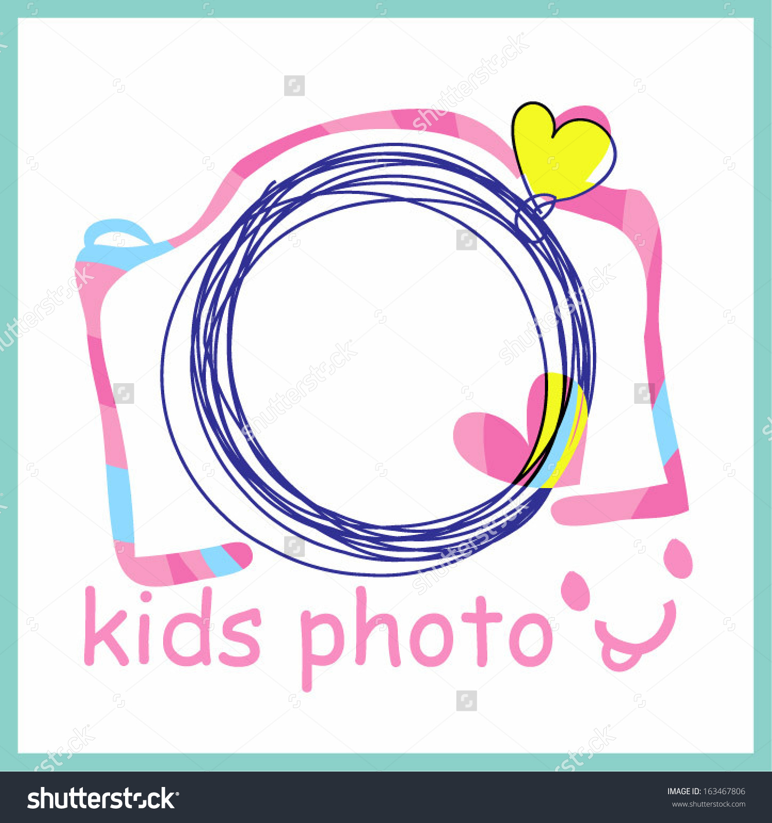 Colourful Pink Camera Clipart Kids Photo Stock Vector 163467806.