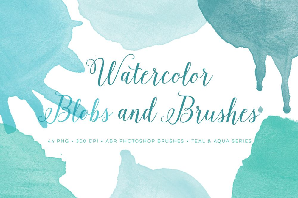 Watercolor Photoshop Brushes Blobs and bonus clipart.