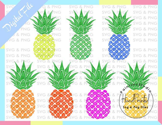 Pack of 7 Watercolor Pineapple Watercolour PNG ARTwork for.