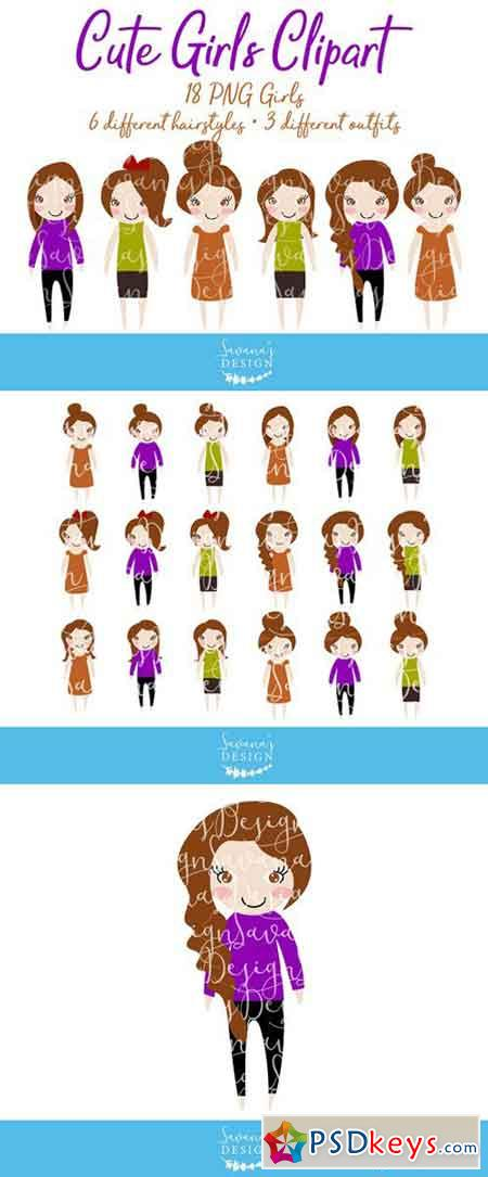 Brunette Hair Girls Clipart in PNG 2230916 » Free Download.