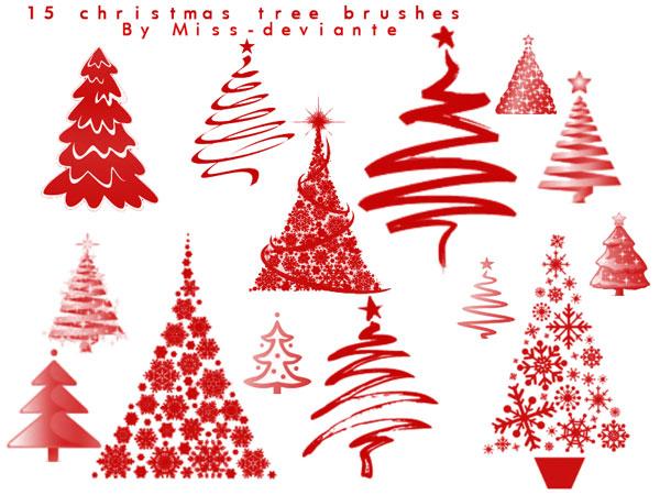 12 Free Christmas Tree Photoshop Brushes.