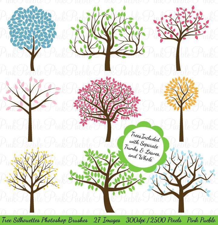 Tree Silhouettes Photoshop Brushes, Tree Photoshop Brushes.