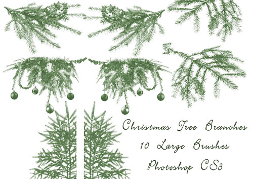 Christmas Clip Art Photoshop Brushes for Holiday.