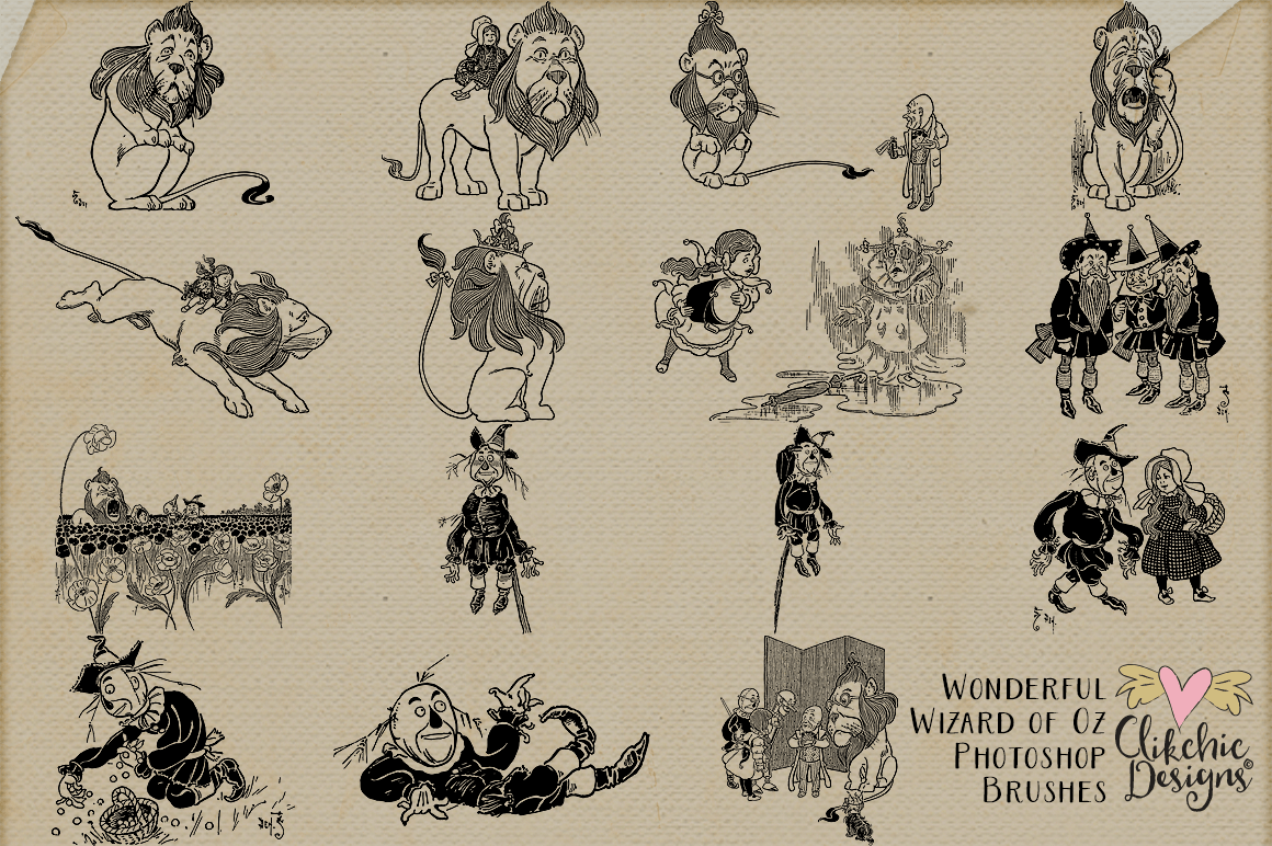 Wizard of Oz Photoshop Brushes & Clipart By Clikchic Designs.