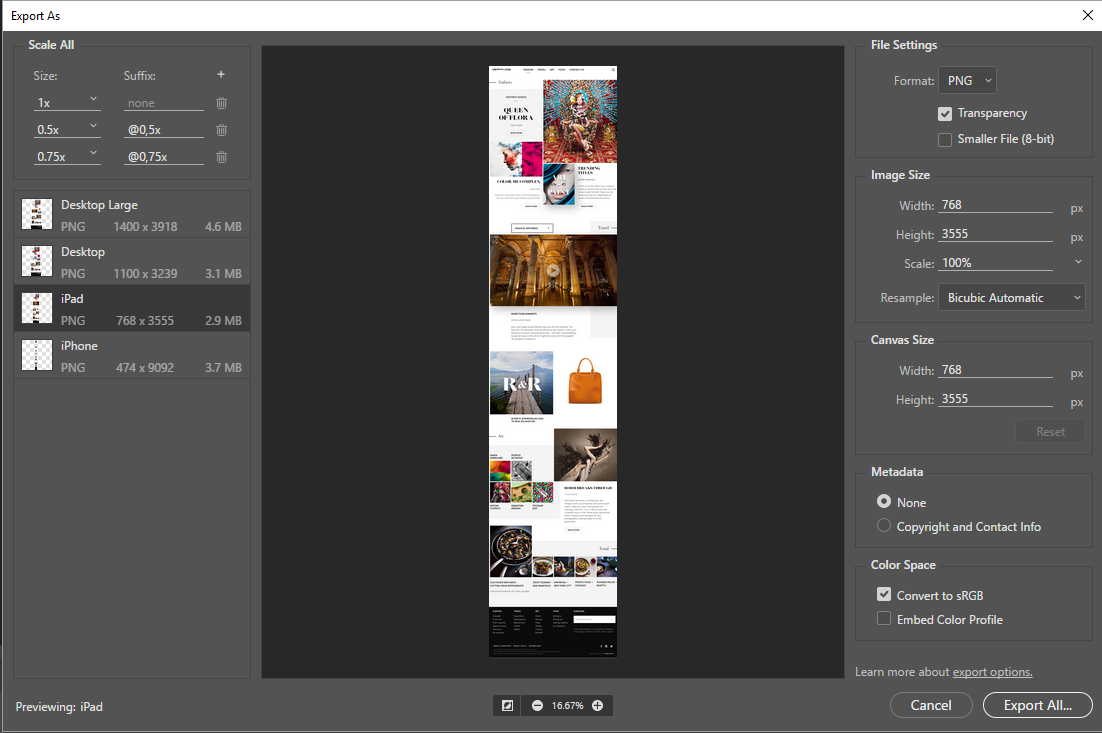 Export layers and artboards in Photoshop.