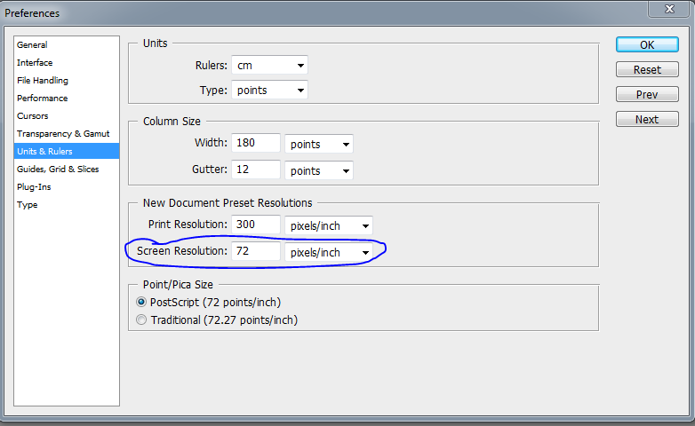 How to change default Photoshop CS4 resolution to 96 dpi.