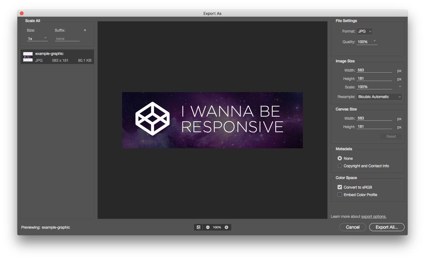 Exporting Images in Multiple Resolutions Simultaneously.