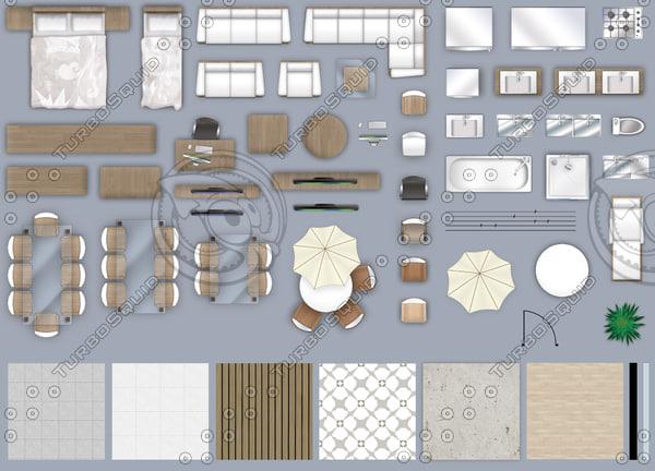 2d furniture floorplan, top.