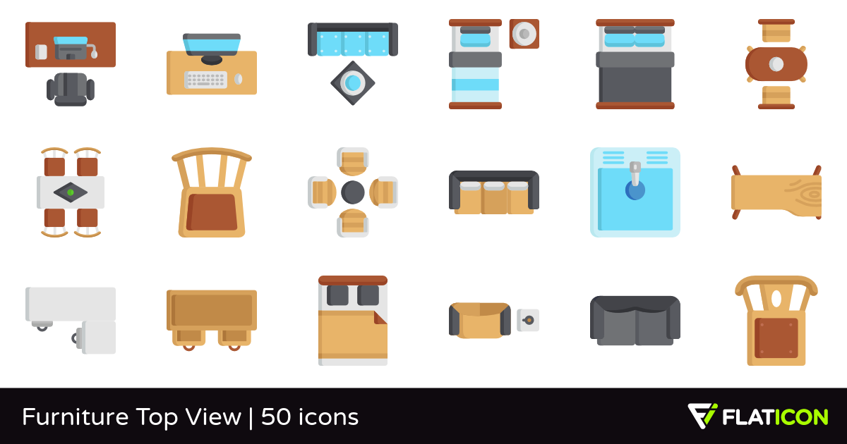 Furniture Top View 50 premium icons (SVG, EPS, PSD, PNG files).