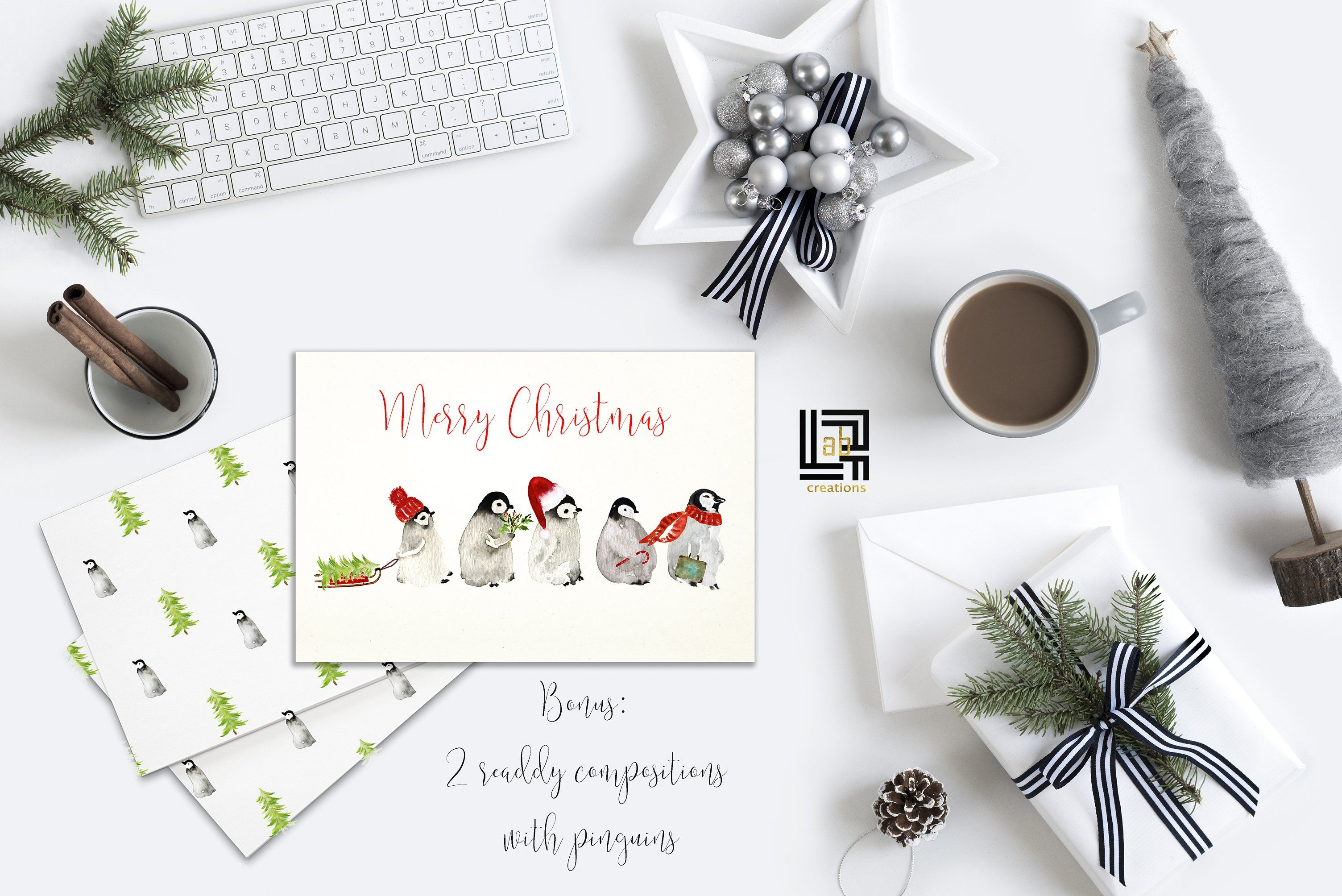 Penguins. Watercolor clipart #online#Photoshop#software.