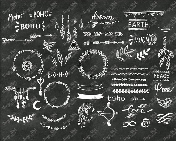 Hand Drawn Boho Clipart, Boho Photoshop Overlays, Vector.