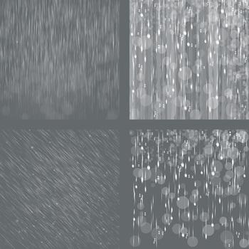 Rain Overlays Clipart, Falling Rain, Photoshop Overlays.