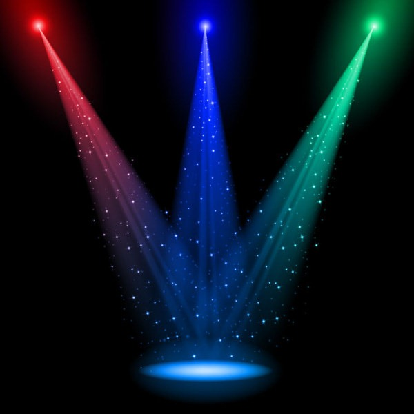 Rainbow Stage spotlights vector background 01 download.