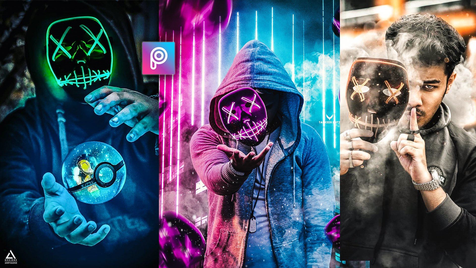 3D Neon Hacker Mask Editing,Png Stock Download for Picsart.