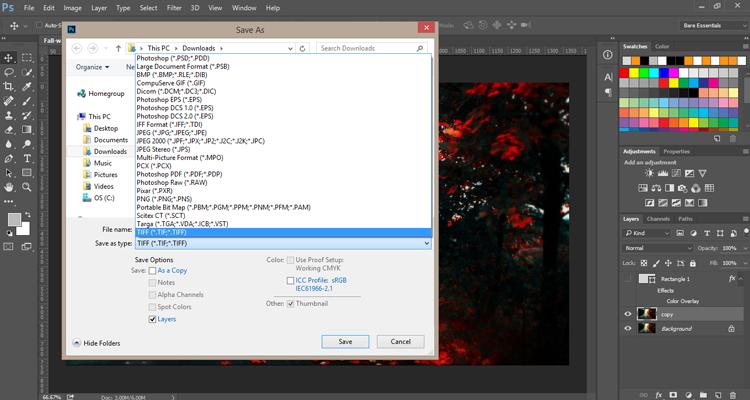 Quick Export, Adobe Photoshop CC 2015.1.