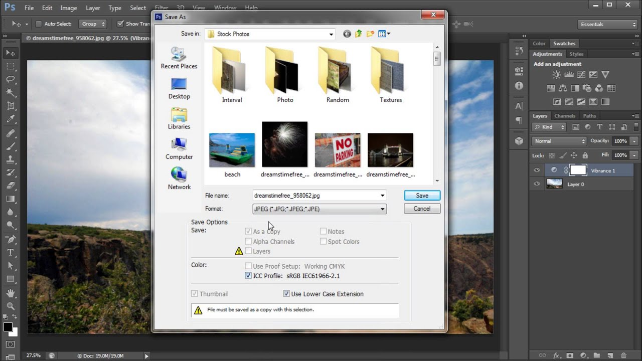 60 Second Photoshop Tutorial : Save Images (JPEG, PNG, BMP, TIFF, etc).