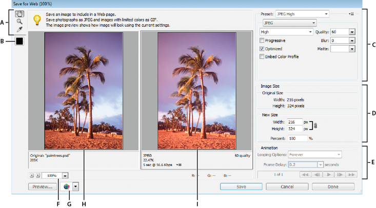 Optimizing images in Photoshop Elements.